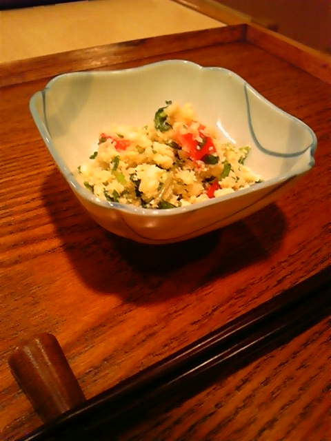 春の香味野菜(<br />  セリとみつば)<br />  卯の花あえ