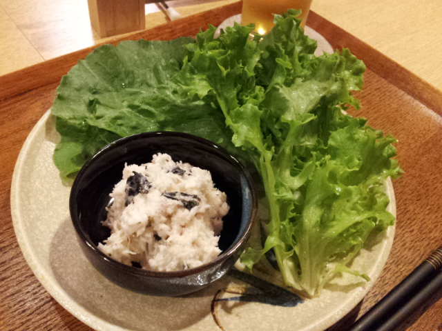 ずわい蟹のソースレタス包み