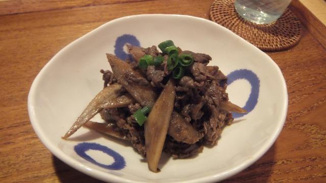 牛肉とごぼうのピリ辛味噌炒め