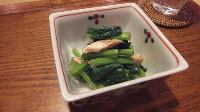 菜花と鶏ささみの辛子和え