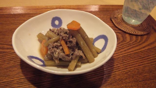 ふきと牛肉の黒酢山椒煮