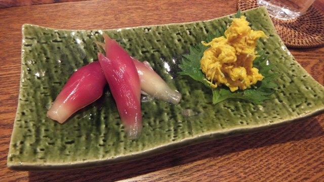 菊花とみょうがの甘酢漬け