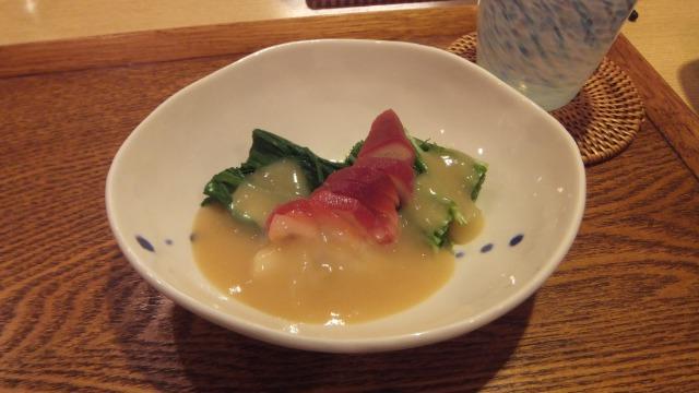 韮とほっき貝の酢味噌がけ